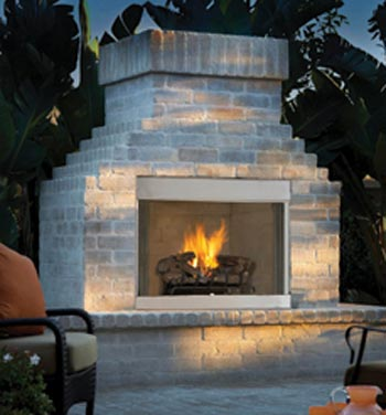 """Natural Gas Outdoor Fireplace with Herringbone Brick 36"""" by"""