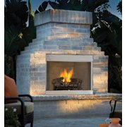 """Natural Gas Outdoor Fireplace with Herringbone Brick - 36"""""""