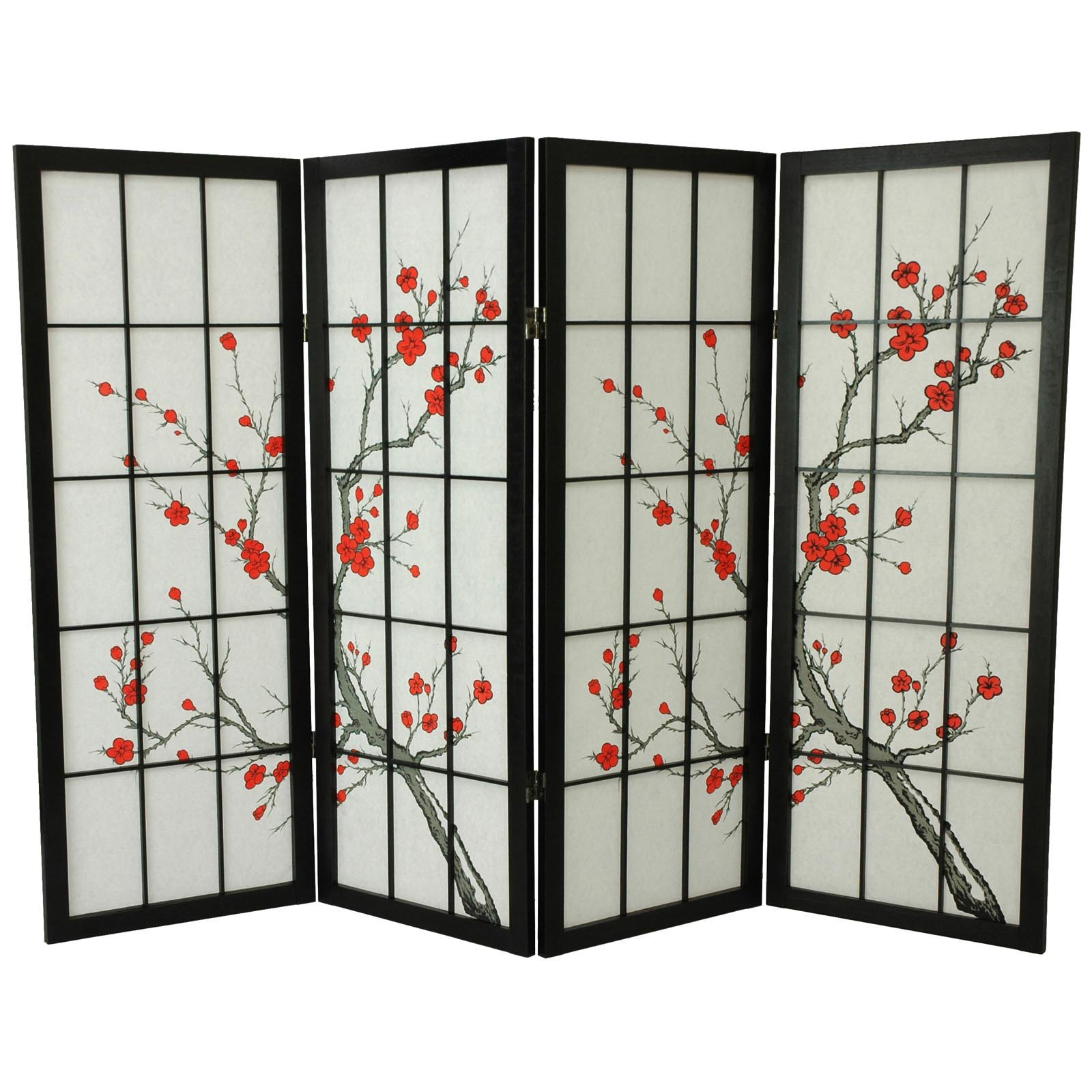 Oriental Furniture 48 Inch Low Cherry Blossom Shoji Screen Room