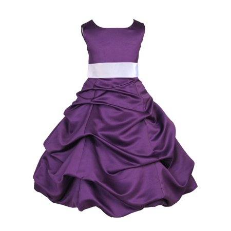 Ekidsbridal Formal Pick-up Satin Purple Flower Girl Dress Junior Bridesmaid Wedding Pageant Toddler Recital Easter Holiday Communion Birthday Girls Clothing Baptism Special Occasions