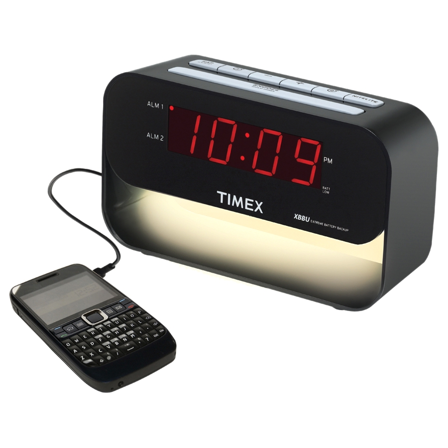 Timex T128B Decorative XBBU Dual Alarm Clock with USB Charging & Night Light (Black)