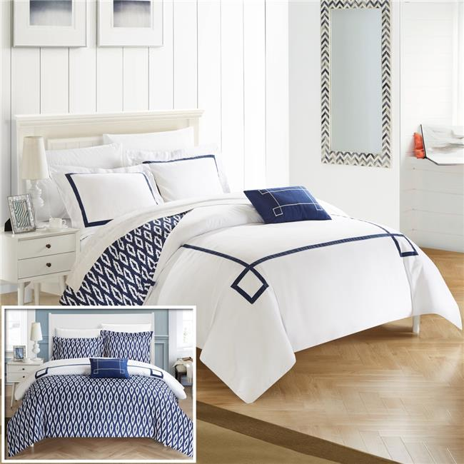 Chic Home DS2965 BIB US 8 Piece Reilly Contemporary Greek Key Embroidered  Reversible Queen Bed In A Bag Duvet Set, Navy With Sheet Set