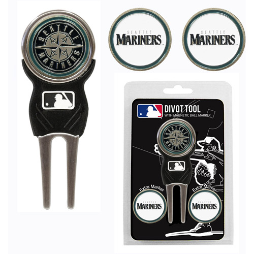 Team Golf MLB Seattle Mariners Divot Tool Pack With 3 Golf Ball Markers