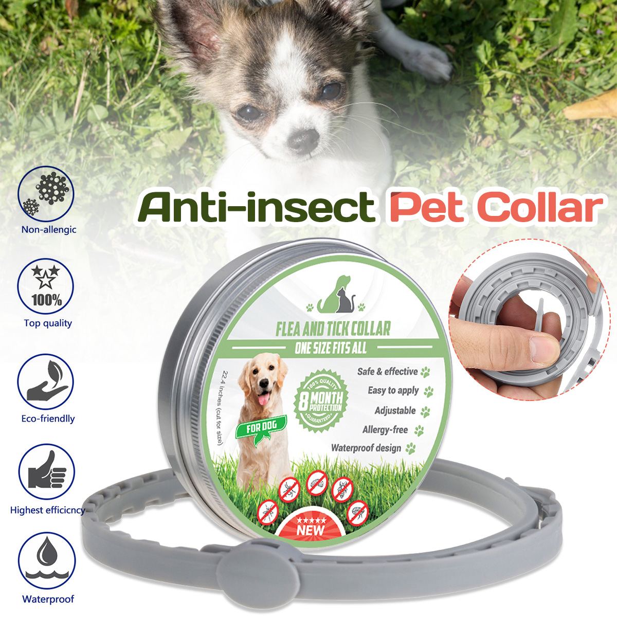 Pet Dog Cat Flea and Tick Collar Anti Mosquitoes Outdoor 8 Months Protection