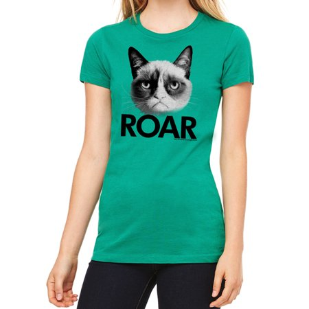Grumpy Cat Roar Women's Kelly Green T-shirt NEW Sizes S-2XL - Roaring Twenties Ladies Fashion