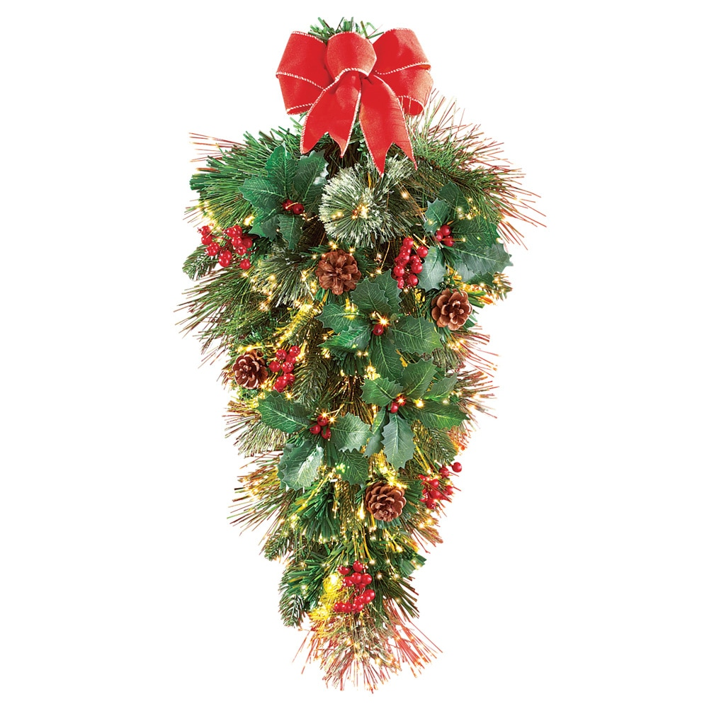 Pine Christmas Swag with Fiber Optics Floral Decoration