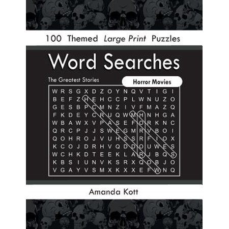 Word Searches - Horror Movies : 100 Themed Large Print - List Halloween Horror Nights Themes