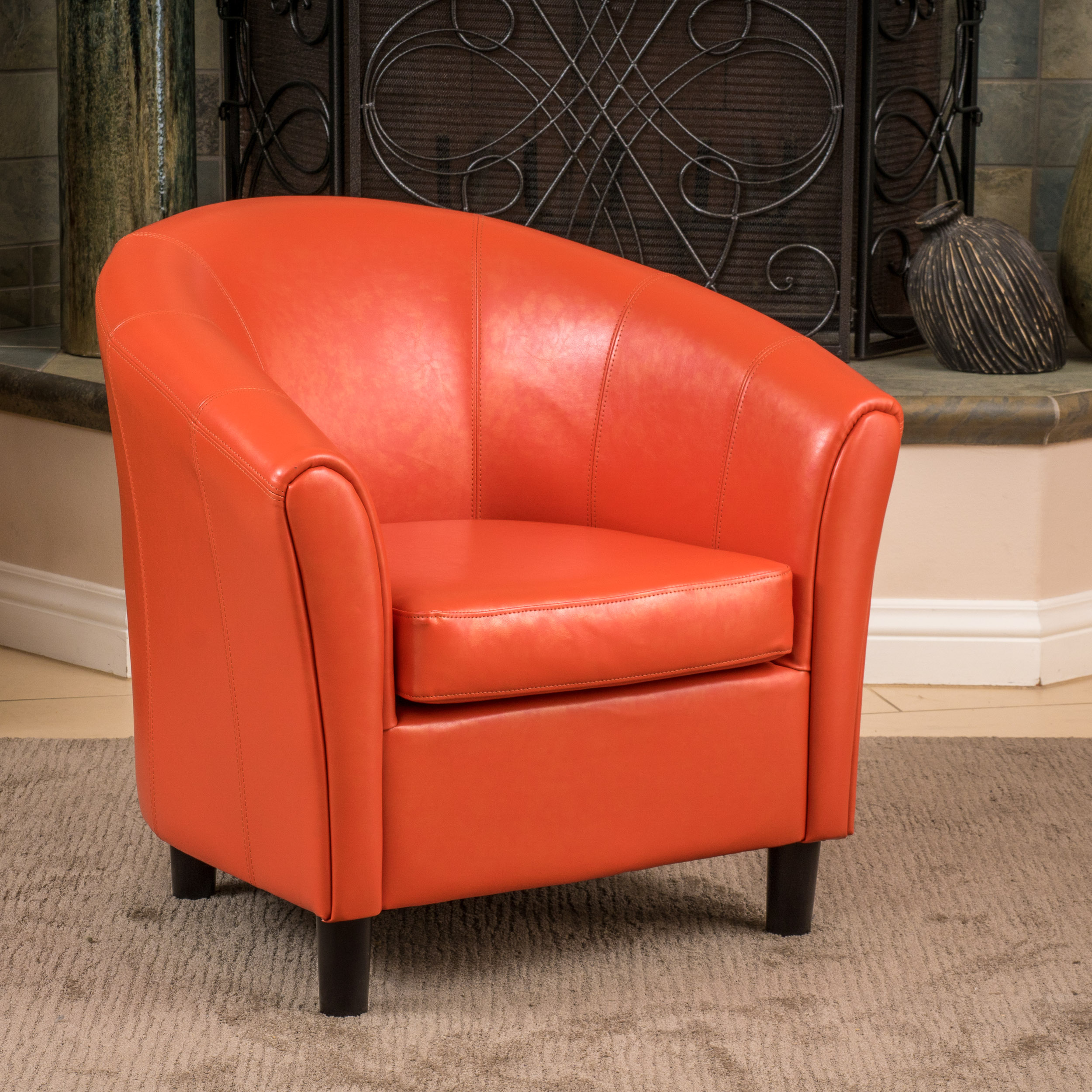 Noble House Cameron Bonded Leather Club Chair, Orange