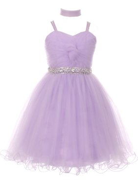 d91e67de6 Product Image Girls Lilac Rhinestone Beaded Wired Tulle Mesh Junior  Bridesmaid Dress 8-16