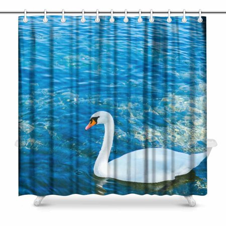 MKHERT Swan Shower Curtain Home Decor Bathroom 66x72 Inch