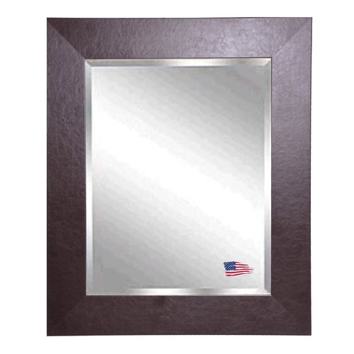 Red Barrel Studio Rectangle Wide Brown Leather Wall Mirror