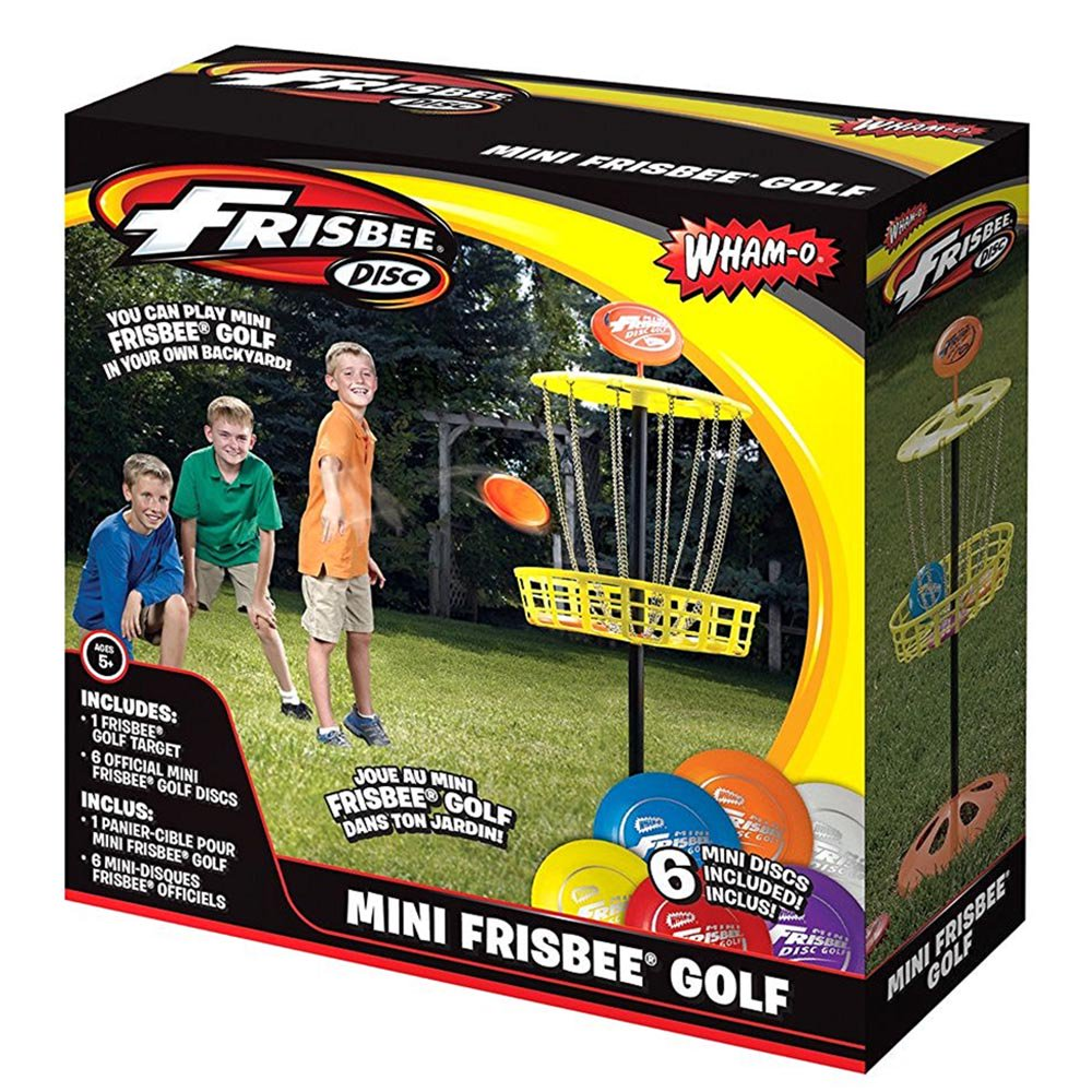 Wham O Youth Indoor Outdoor Portable Mini Frisbee Golf Toy Set Target W 6 Discs