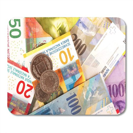 SIDONKU Blue Bank Swiss Franc Bills and Coins 10 20 Mousepad Mouse Pad Mouse Mat 9x10
