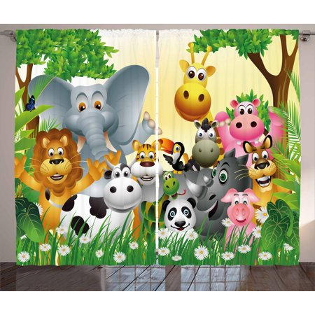 Animal Curtain Set (Kids Curtains 2 Panels Set, Cute Animals in Jungle Elephant Giraffe Panda Bear Pig Lion Hippo Rhino Cartoon Art, Window Drapes for Living Room Bedroom, 108W X 108L Inches, Multicolor, by Ambesonne )