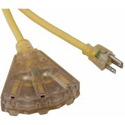 Bayco SL-741L 14/3-Gauge Extension Cord with Lighted End and 3 Outlets, 50'