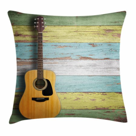 Music Decor Throw Pillow Cushion Cover, Acoustic Guitar on Colorful Painted Aged Wooden Planks Rustic Country Decor, Decorative Square Accent Pillow Case, 16 X 16 Inches, Multicolor, by - Rustic Country Decor