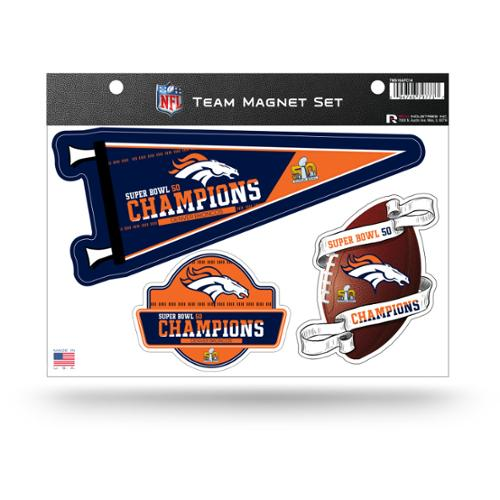 Denver Broncos Official NFL 8.5 inch  x 11 inch  Super Bowl 50 Champions Team Magnet Set by Rico