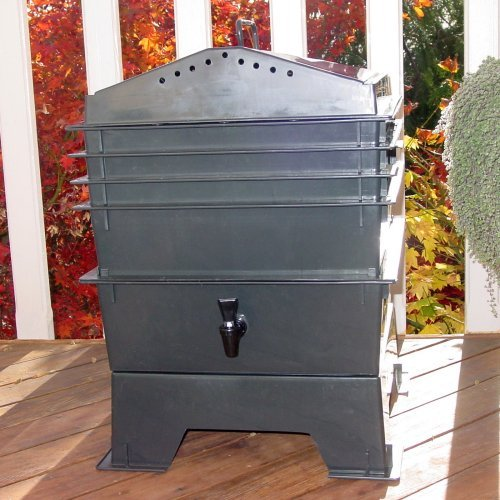 VermiHut 4-Tray Recycled Plastic Worm Composter - Black