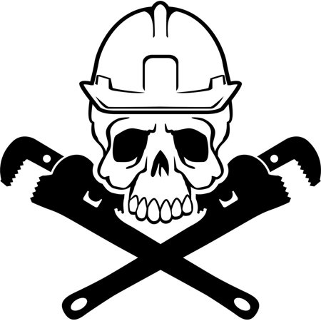Pipe Fitter Skull and Crossbones Vinyl Decal Sticker|Cars Trucks Vans Walls Laptops Cups|Black|5.5 inches|KCD907 - Skull And Crossbones Stickers