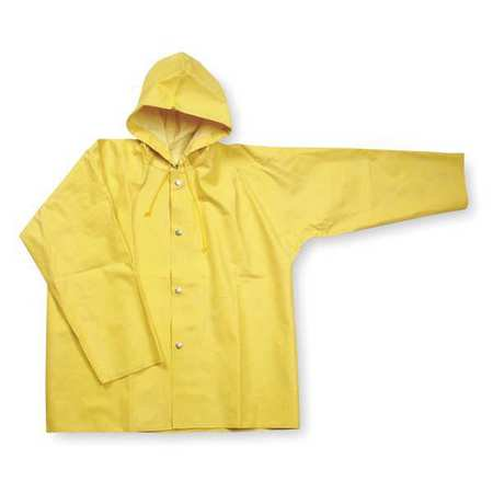 1FAY7 S Yellow SBR Rubber Rain Jacket with Hood