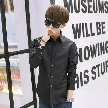 Men's Vocational Long-sleeve Personality Ultra-slim Solid Color Casual Shirts - image 4 of 7