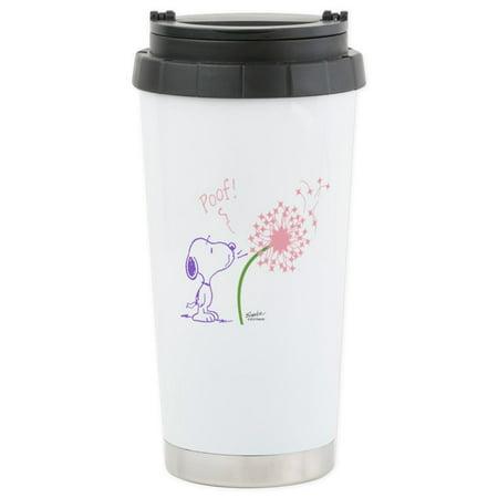 CafePress - Snoopy Dandelion Stainless Steel Travel Mug - Stainless Steel Travel Mug, Insulated 16 oz. Coffee Tumbler