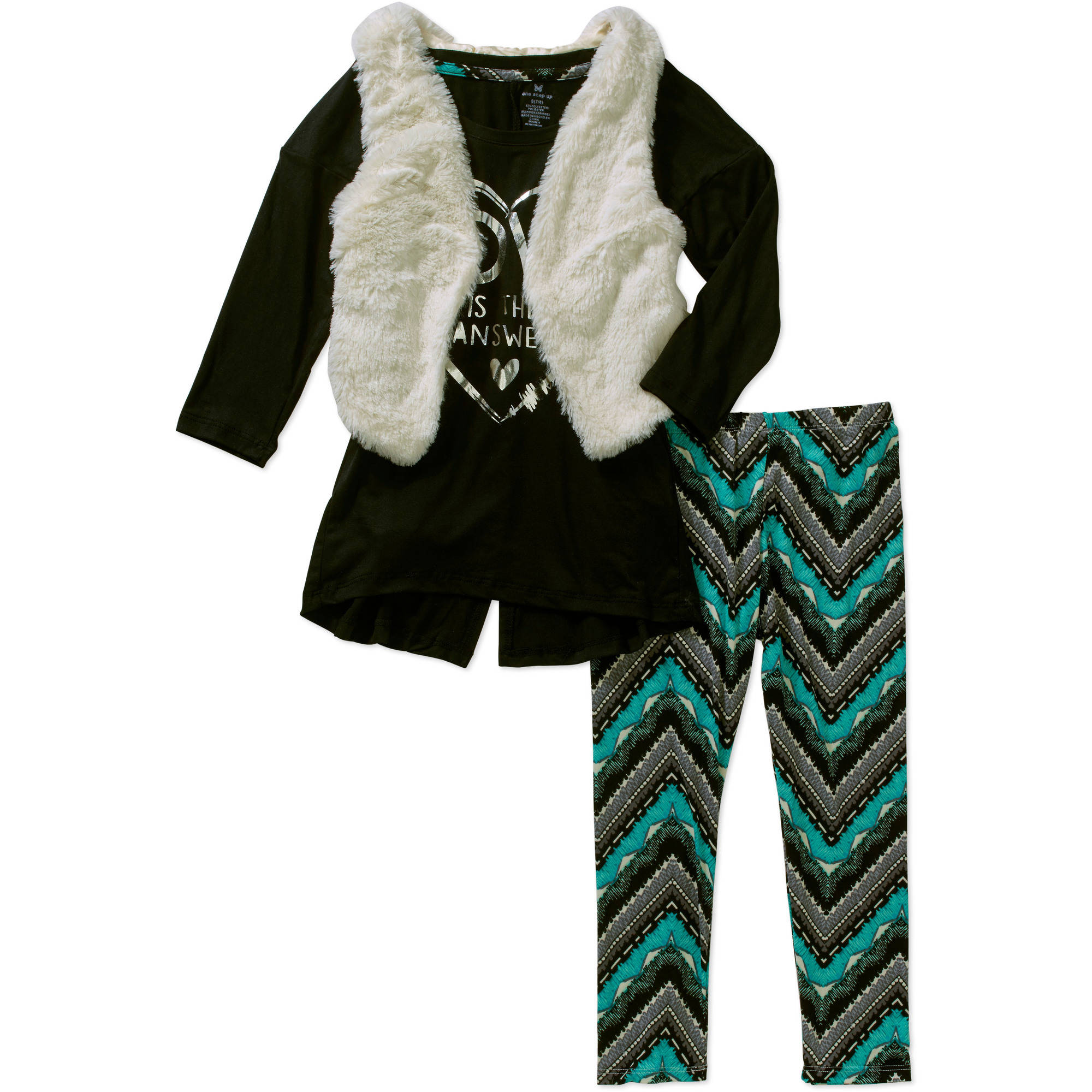 "One Step Up Girls' ""Embellished Ensembles"" 3 Piece 3/4 Sleeve Hi-Lo Top with Glitter Art & Envelope Back, Furry Vest and Printed Leggings Set"