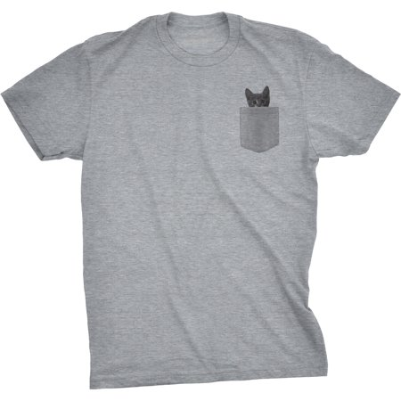 Crazy Dog Tshirts   Mens Pocket Cat T Shirt Funny Printed Peeking Pet Kitten Animal Tee For Guys