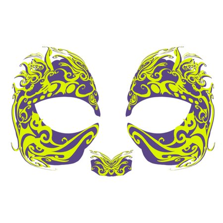 Masque Rage Temp Tattoo Mask Green Mardi Gras - Masque Halloween Scream