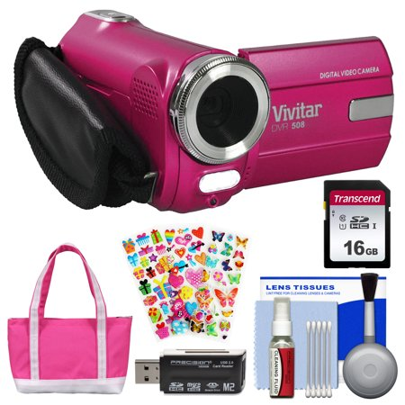 Vivitar DVR-508 HD Digital Video Camera Camcorder (Pink) with 16GB Card + Bag + Stickers + Kit