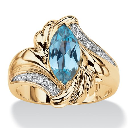 - 2.05 TCW Marquise-Cut Aqua Cubic Zirconia Bypass Cocktail Ring 14k Gold-Plated
