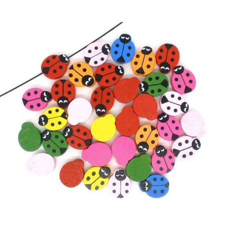 90 Painted One Side Ladybug Wood Spacer, Loose Beads, 19x15mm
