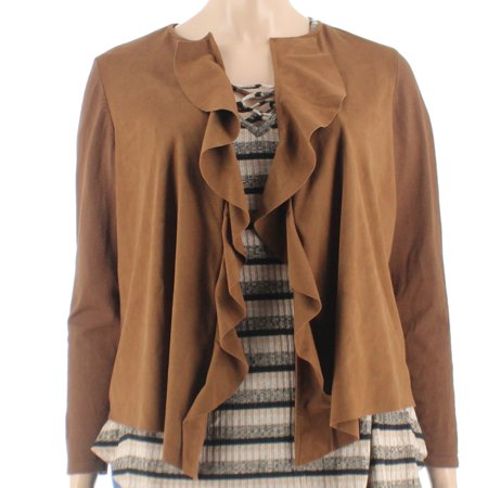- Inc International Concepts Plus Size Brown Cascading-Ruffle Jacket 1X