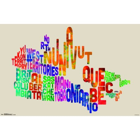 """Trends International Canada Map Text Wall Poster 22.375"""" x 34"""""""