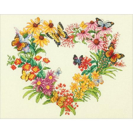 Counted Cross Stitch Backstitch - Wildflower Wreath Counted Cross Stitch Kit, 14