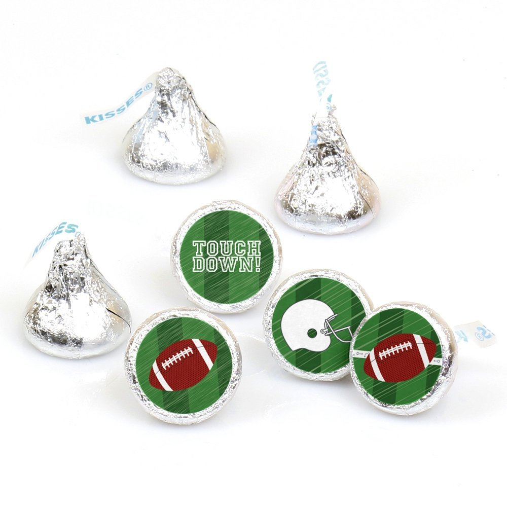 End Zone Football - Party Round Candy Stickers - Labels Fit Hershey's Kisses (1 sheet of 108)