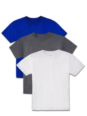 Fruit of the Loom Boys 4-18 Soft Short Sleeve Crewneck T Shirts, Multi-Color 3 Pack
