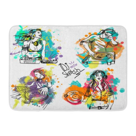 GODPOK Colorful Sketch with The Dj and Turntable on Colored Blots Disc Jockey Mixing Music in Headphones Playing Rug Doormat Bath Mat 23.6x15.7 inch