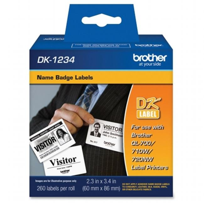 Brother International DK1234 Die-Cut Name Badge Labels, 2.3 x 3.4 in.