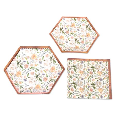 Koyal Wholesale Vintage Floral Tea Party Set, Peach Peonies, 48 Piece Set 9-Inch, 7-Inch Plates, 50-Pack (Vintage Tea Party)