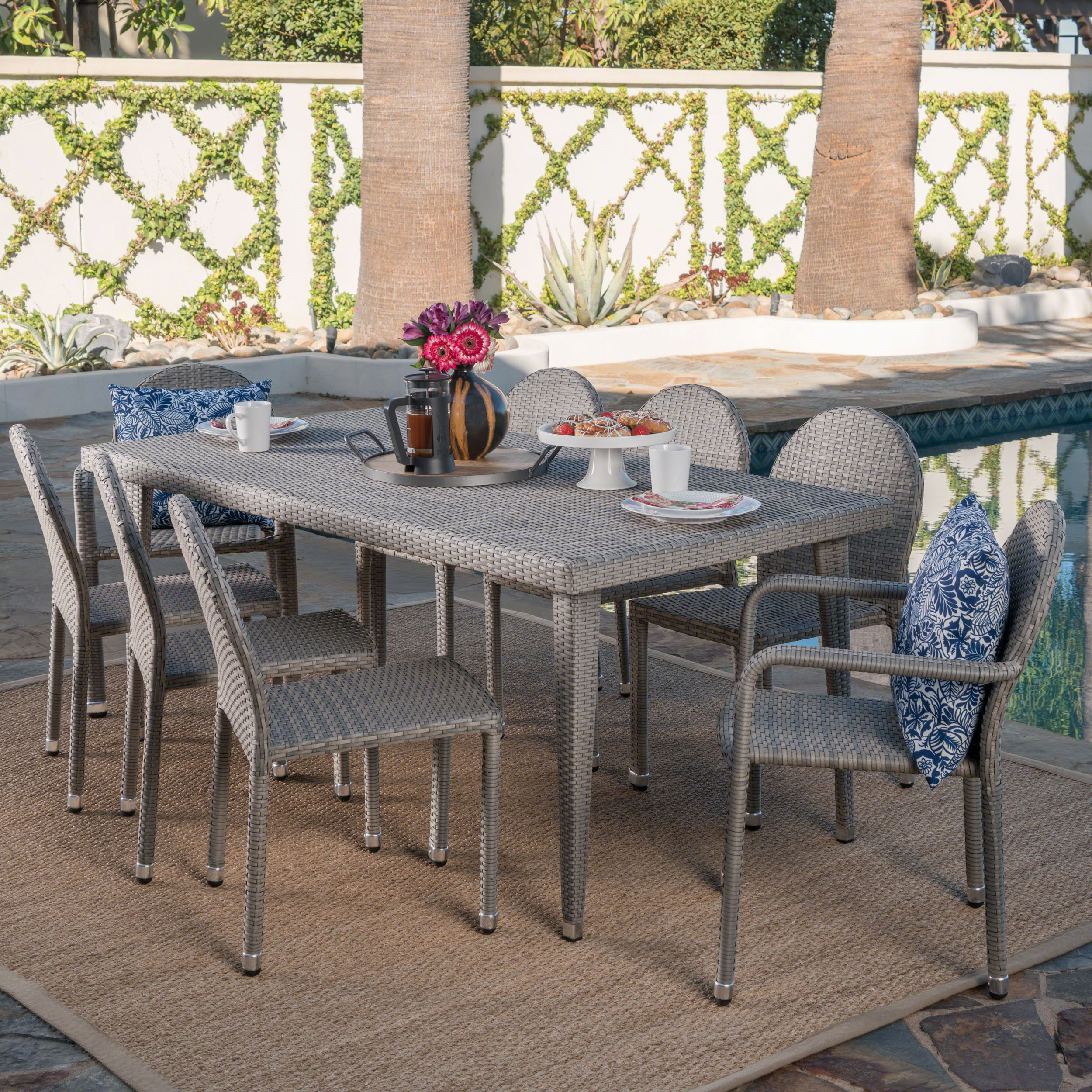 Carter Outdoor 9 Piece Wicker Dining Set with Armed and Armless Aluminum Framed Stacking Chairs, Chateau Grey