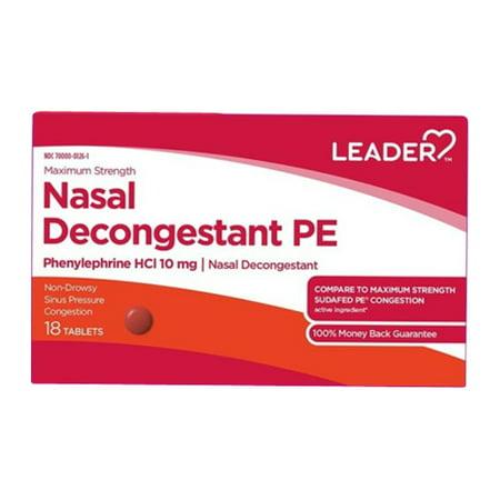 Pe Nasal Decongestant - Leader Nasal Decongestant PE Phenylephrine HCL 10mg Nasal Decongestant Tablets, 18 Ea