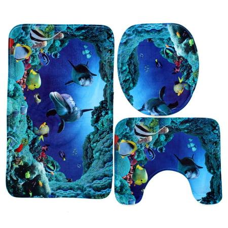 3Pcs Blue Shark Bathroom Set Non Slip Pedestal Rug   Lid Toilet Cover   Bath. 3Pcs Blue Shark Bathroom Set Non Slip Pedestal Rug   Lid Toilet