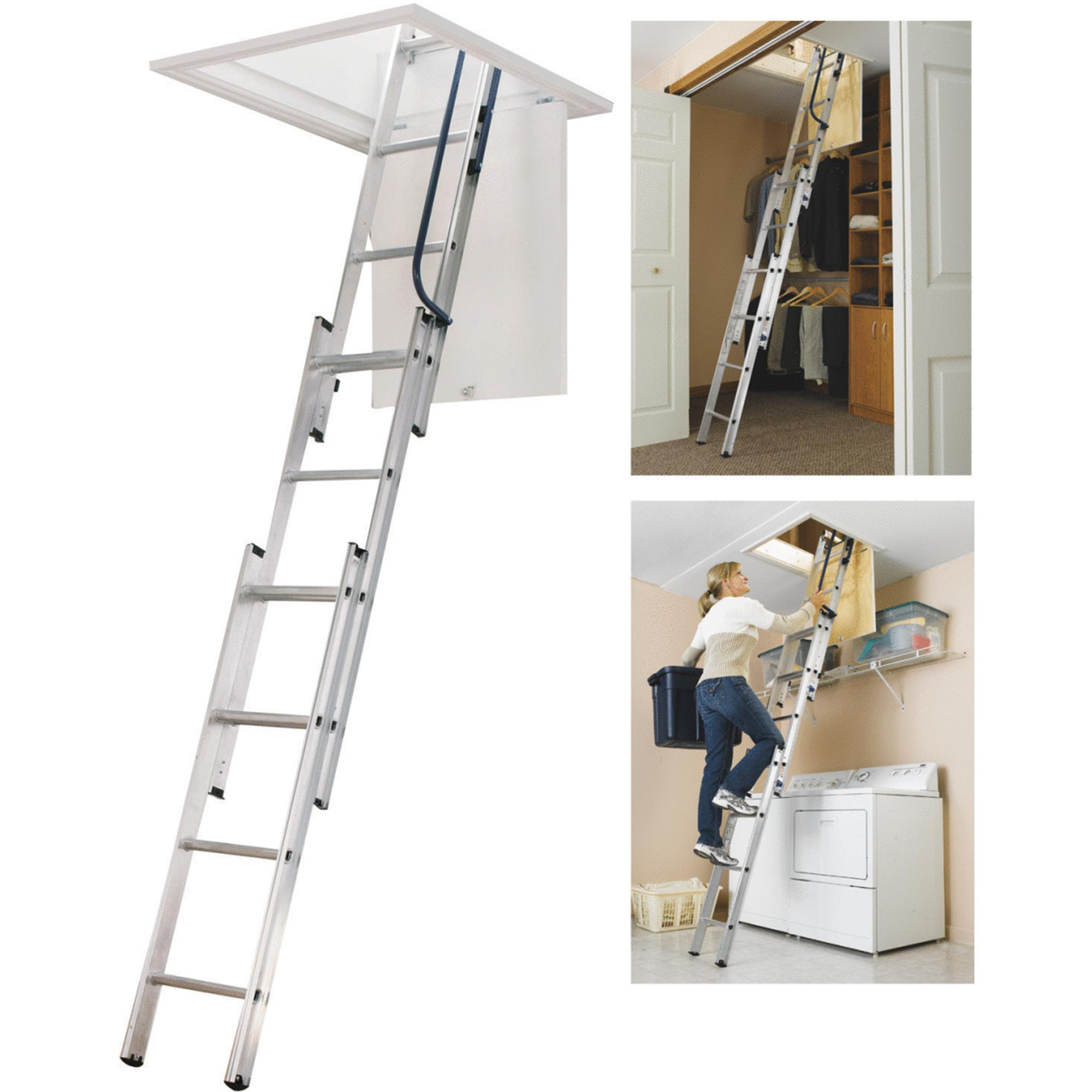 Werner AA1510 7 ft. - 9 ft. Compact Attic Ladder (24 in. x 18 in. Opening)