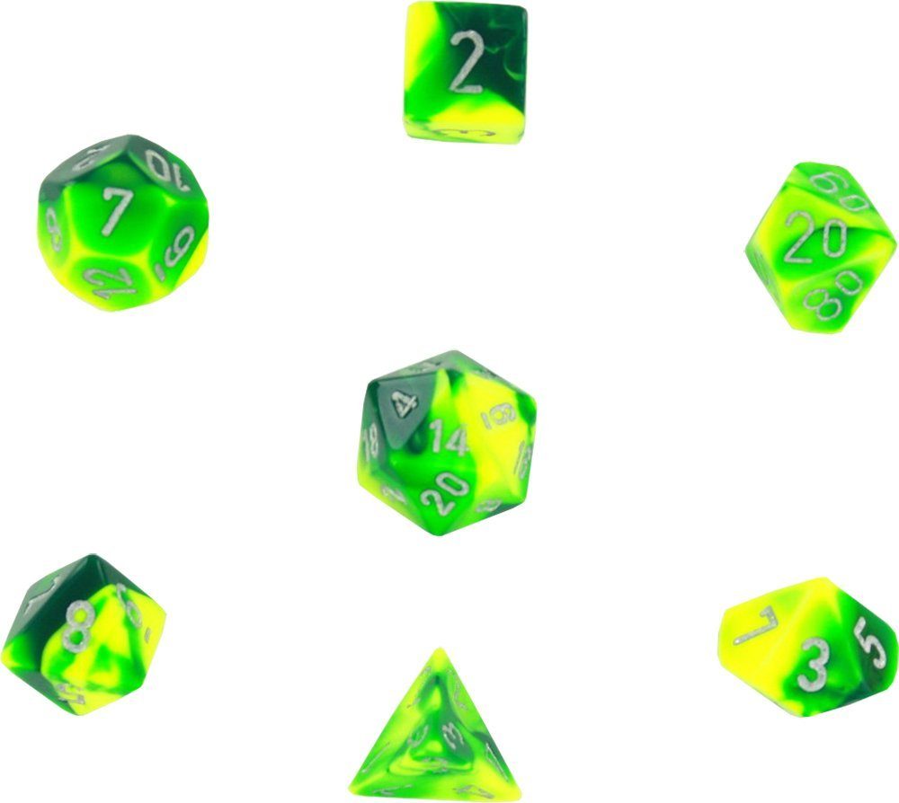 Green /& Yellow with Silver d4, d6, d8, d10, d12, d20 /& d00 Polyhedral 7-Die Gemini Dice Set