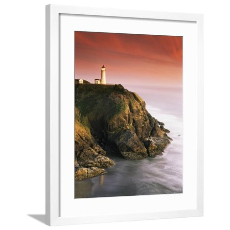 North Head Lighthouse on Cliff, Fort Canby State Park, Washington, USA Framed Print Wall Art By Stuart (Canby Woods)