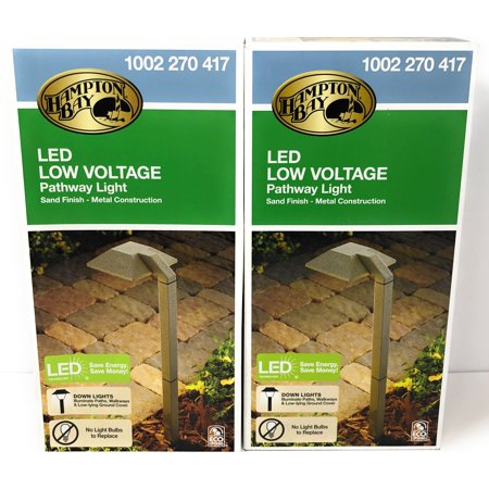 Hampton Bay Low-Voltage 2.7-Watt Sand Outdoor Integrated LED Landscape Modern Down Light Path Light (2-Pack) (Modern Path Light)