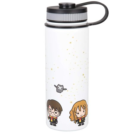 Harry Potter Stainless Steel Water Bottle - With Harry, Ron and Hermione Chibi Character Design - (Guyot Designs Stainless Steel Water Bottle The Backpacker)
