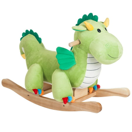 Dagwood Dragon Rocking Horse Animal Ride On Toy by Happy (Bounce House Green)