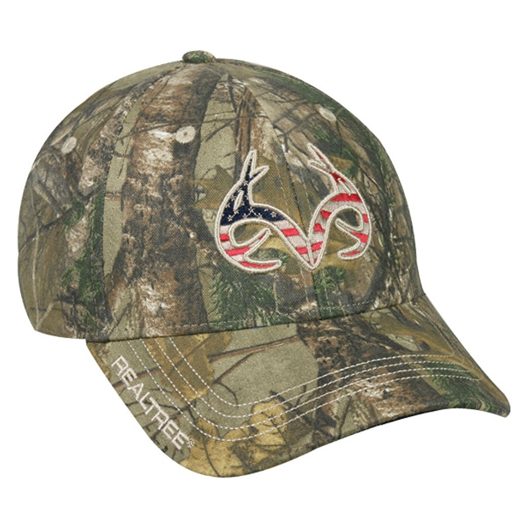 Realtree Buck Horn Camo Hunting Hat (Realtree Extra American Flag) by Outdoor Cap